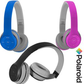 Polariod wireless Bluetooth Headphones with SD card slot and FM radio